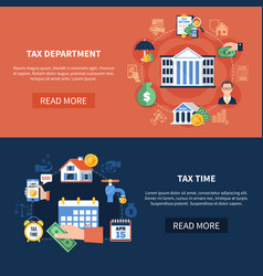 Tax department horizontal banners vector