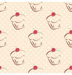 Tile cupcake pattern with polka dots on pastel vector image
