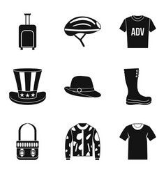 Travel clothing icon set simple style vector