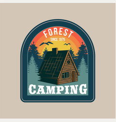 Vintage badge with wooden forest house vector