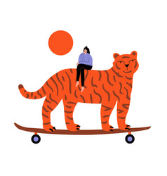 With thinking girl and tiger with skateboard vector