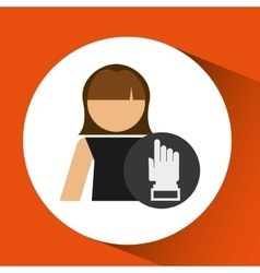 Woman hand pointing up icon design vector