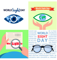 World sight day banner set flat style vector