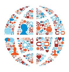 World symbol in social media network icons vector