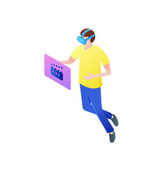 Young boy watch online movie in vr goggles vector