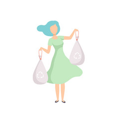 Young woman holding garbage bags people gathering vector
