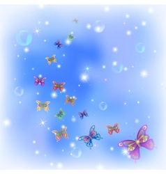 Butterflies on sky vector image