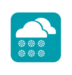 cloudy snow snowfall and snowflakes flat icon vector image