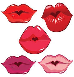 lip heart red vector image vector image
