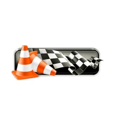 Racing banner with traffic cones vector image vector image