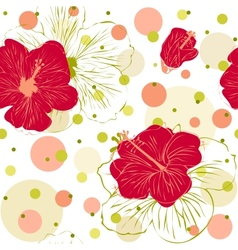 Seamless Pattern with Hand Drawn Hibiscus Flowers vector image vector image