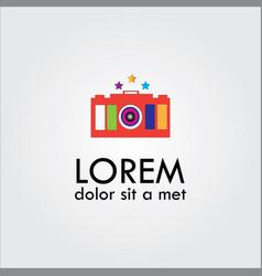 Beauty camera with stars logo vector