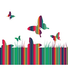 Butterflies and colorful grass background vector image