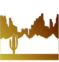 desert landscape with cactus and mountains vector image