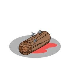 Isolated cartoon wood and shuriken ninja replaceme vector image