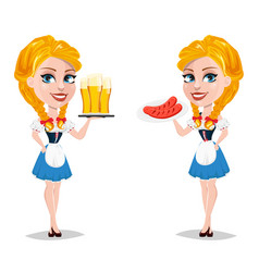 oktoberfest with sexy redhead girl holding plate vector image