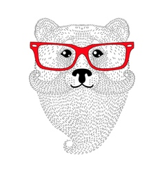 Cute bear portrait with french mustache beard vector image