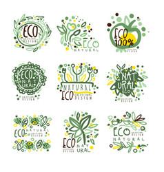 organic bio farm fresh eco healthy food set vector image