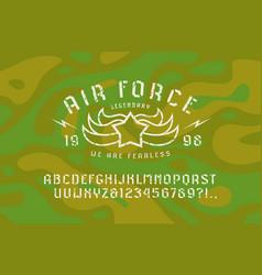 Stencil-plate sans serif font and air force emblem vector