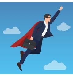 Superhero super successful businessman flying in vector image