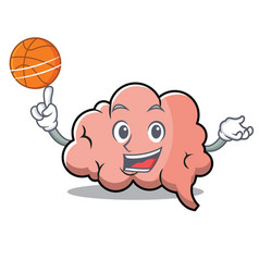 with basketball brain character cartoon mascot vector image vector image