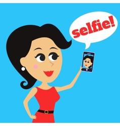 Girl makes selfie vector image