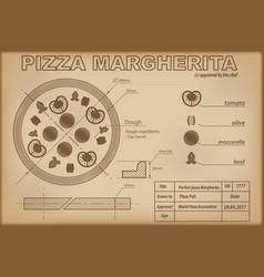 pizza margherita ingredients draw scheme vector image vector image