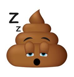 shit icon sleep face poop emoticon vector image