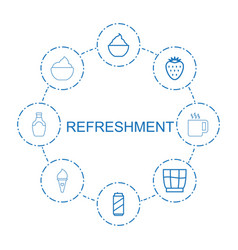 8 refreshment icons vector