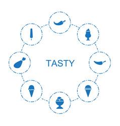 8 tasty icons vector