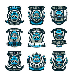 A set of colored emblems logos a skull in a vector