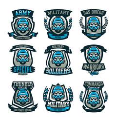 a set of colored emblems logos skull vector image