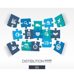 Abstract distribution background with connected vector image vector image