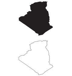 Algeria country map black silhouette and outline vector