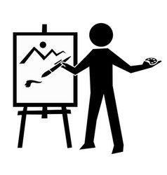 artist icon simple drawing man vector image