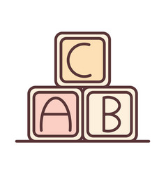 baalphabet cubes learn toy object newborn vector image