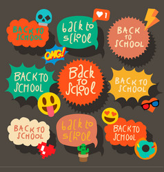 Back to school set speech bubbles stickers vector