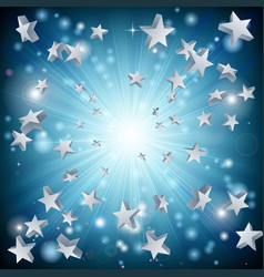Blue star explosion background vector