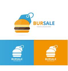 burger and tag logo combination hamburger vector image