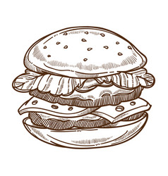 burger or cheeseburger fast food meal isolated vector image