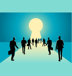 Businessmen walking into keyhole with bright light vector
