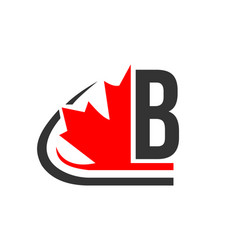 Canadian red maple leaf with b letter concept vector