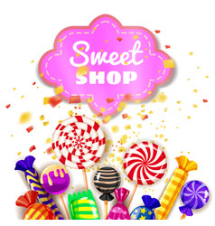 candy sweet shop background set of different vector image