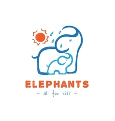 Cartoon elephant logo Mother and baby vector