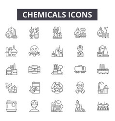 chemicals line icons for web and mobile design vector image