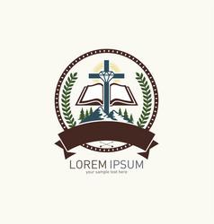 Christian logo with biblical symbols vector