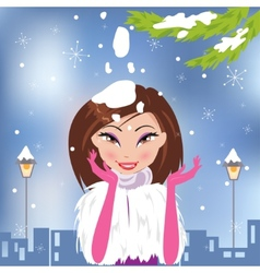 Christmas with a beautiful girl vector image