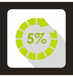 Circle loading 5 percent icon flat style vector image