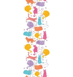Colorful Cats Vertical Seamless Pattern Background vector