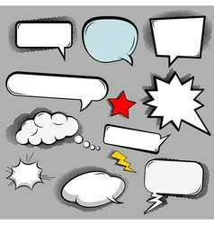 Comic speech bubbles icons collection of cloud vector